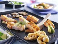 Gourmet vis menu met pannetjes